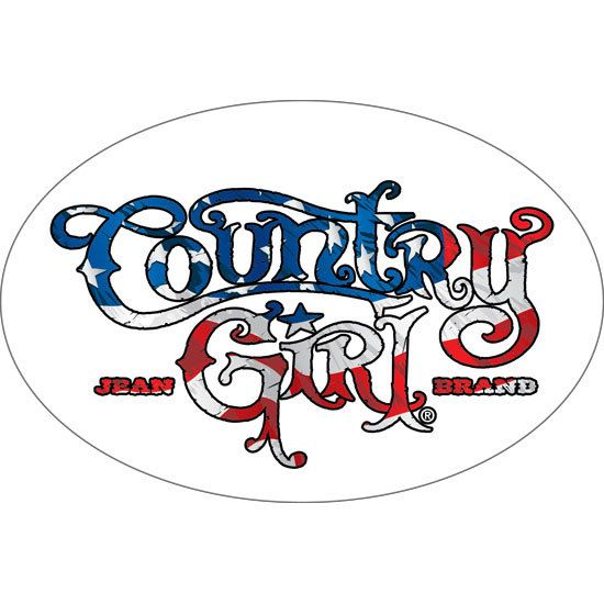 "6"""" x 4"""" Oval Bumper Sticker - Country Girl USA Flag"