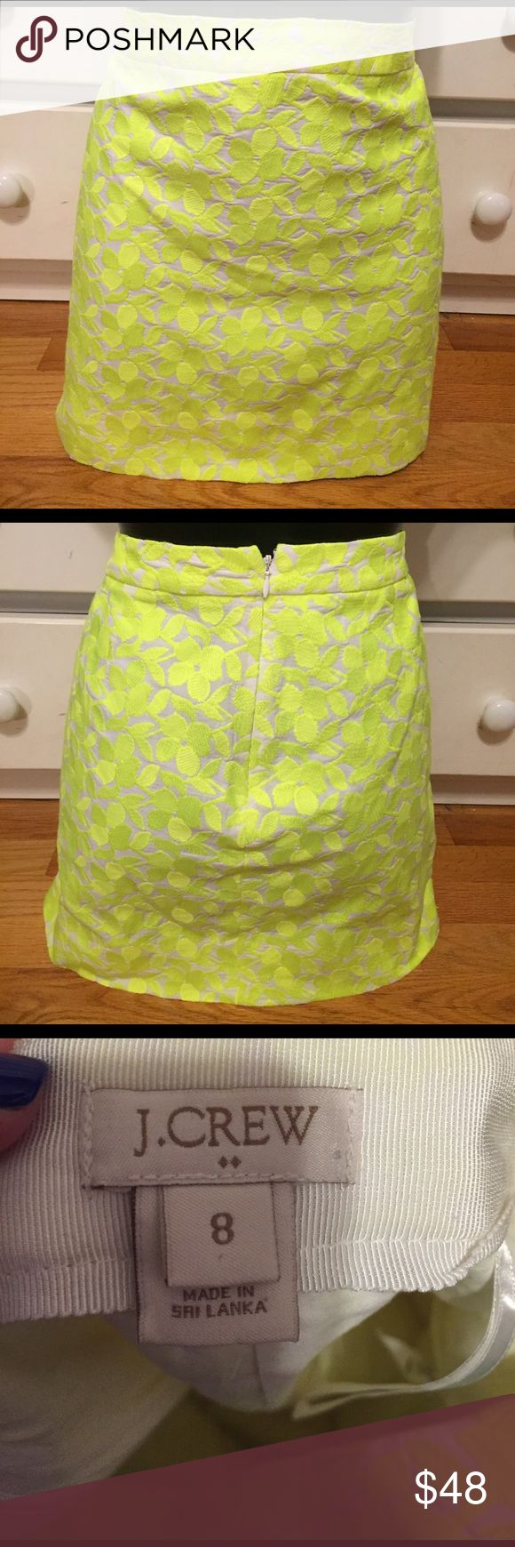 """J. Crew Neon Yellow Floral Skirt This skirt is a show stopper and is extremely bright. It's in good used condition. The waist flat across measures 16.5"""" and the length is 15.75"""". Please feel free to make an offer. 😊 J. Crew Skirts"""