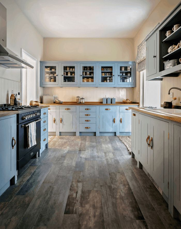 Design Flooring Kitchen Floor Tile Light Blue Cabinets Modern Marmoleum
