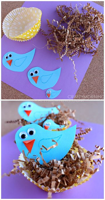 Blue Bird Craft in Cupcake Liner Nests! A fun spring craft for kids to make | http://CraftyMorning.com