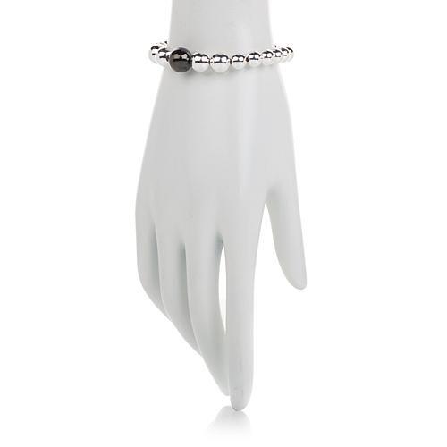 Sevilla Silver™ High-Polished Bold Bead Stretch Bracelet - Black-Plated