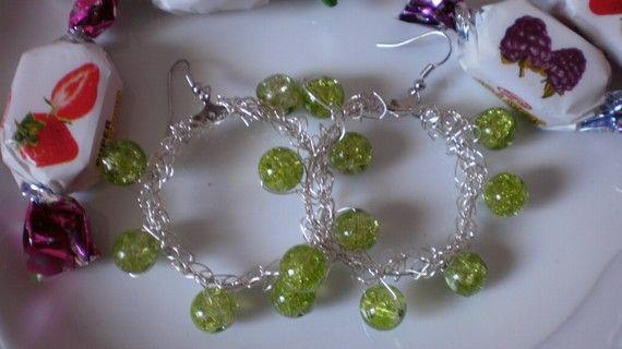 Lime crochet brass earrings in silver tone by KaterinakiJewelry