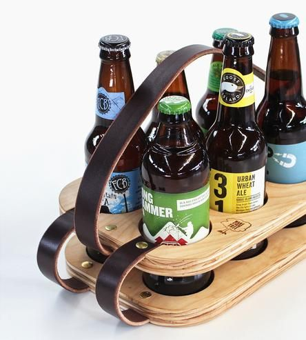 Wood & Leather Six-Pack Beer Carrier by Wake the Tree on Scoutmob Shoppe