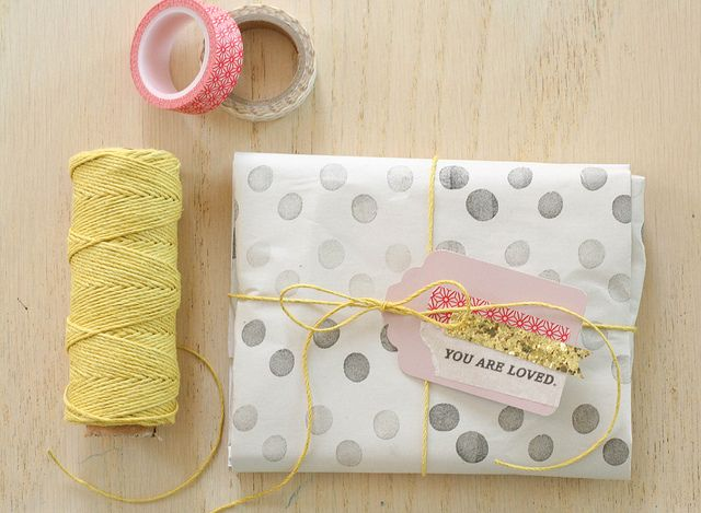 washi tape tag and cute yellow twine
