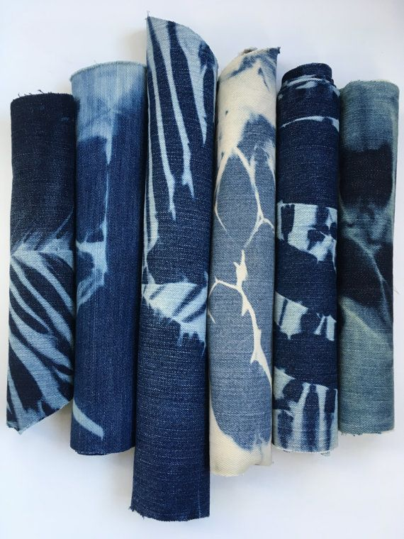 Shibori Denim Reclaimed Denim Fabric by CapeCodShibori on Etsy