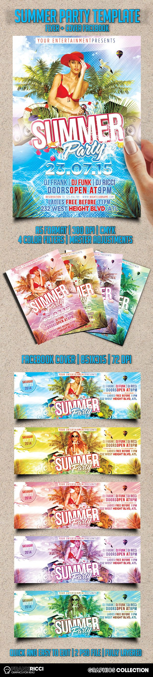 Flyer & Facebook Cover Summer Party - New template available on http://frankricci.it/summer-party-01/