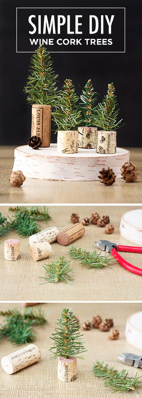 These adorable DIY wine cork trees are a fun and easy way to decorate your home this holiday season. Kelly from @LiveLaughRowe shows you how to make this simple craft in just a few minutes. Use these miniature trees as homemade place settings or to create a winter wonderland tabletop decoration.
