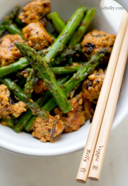 Asparagus and Tempeh Stir Fry with Ginger Pearl Couscous