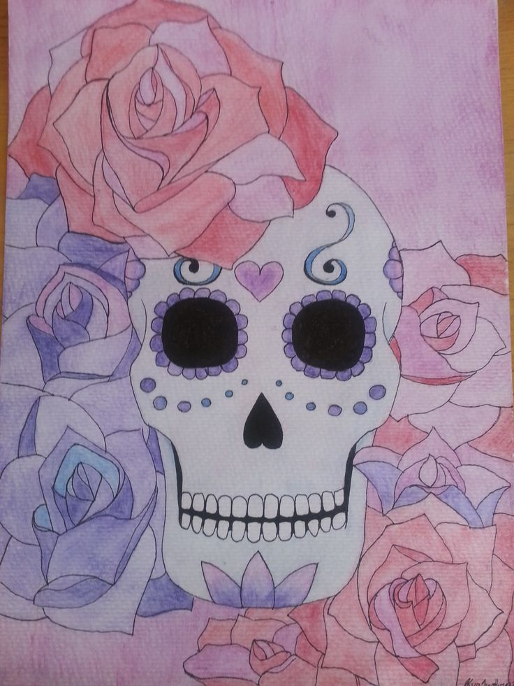 Roses and Skulls 12x9 inches Water colour and ink
