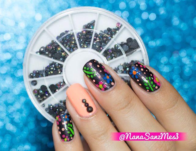Neon Floral Hawaiian nails! ❀ by @nanasanzmes3 using black diamond nail art decoration in wheel item #02894325 from @LightInTheBox