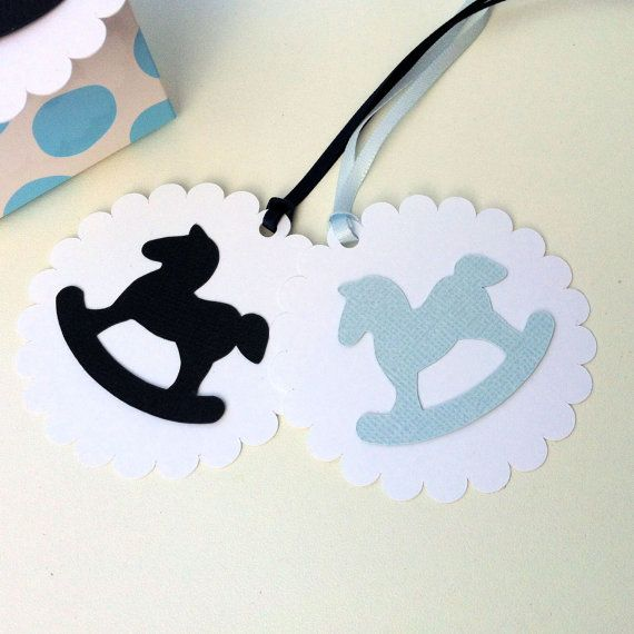 Rocking Horse gift tags & ribbon. Baby shower favors, cake pop tag, gift bags, gift boxes, invitations.
