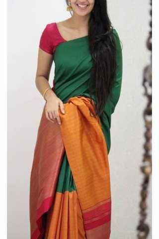 6baf90fc706a9 Refreshing Green Color Soft Silk Designer Sarees - cnd1141