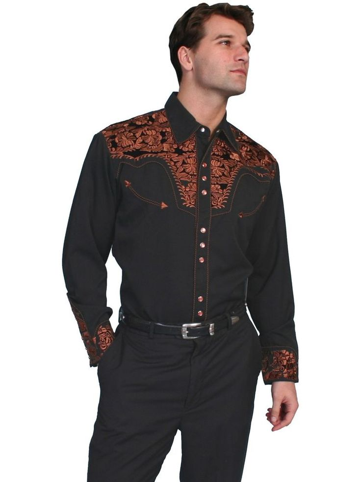 Scully Shirt XL Black Western Mens Cowboy Embroidered Pearl Snap Size Rayon P634 #Scully #Western