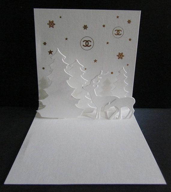 Authentic CHANEL Christmas Card Tree Deer Logo Paper by Sweeeties
