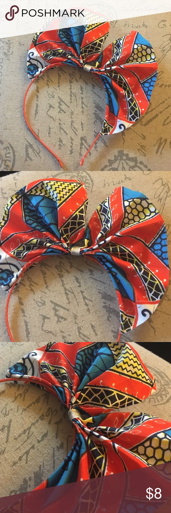 African print headband Ankara African print handmade headband. Orange, blue and white vibrant beautiful print. Accessories Hair Accessories