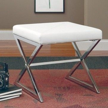 Coaster Ottomans Ottoman with Metal Base, White Faux Leather - modern - ottomans and cubes - Amazon