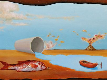 Maurizio Laurenti, Paesaggio surrealista, dettaglio, 2013, olio su tavola