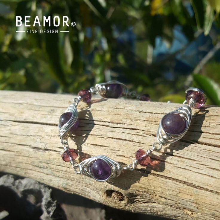 Amethyst Gemstone Bracelet Wire wrap Herringbone weave by BeamorFineDesign on Etsy