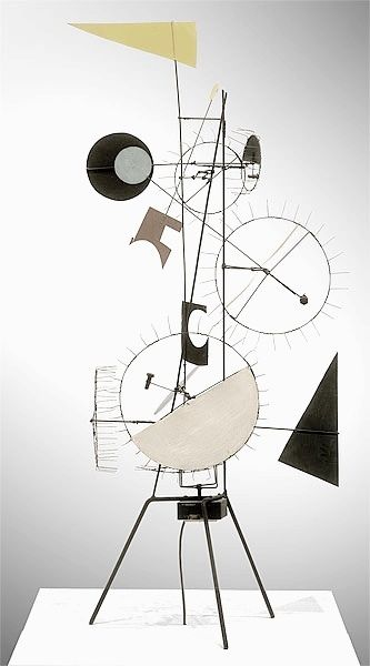 1954. Jean Tinguely (1925-1991) was a Swiss painter and sculptor. He is best known for his sculptural machines or kinetic art, in the Dada tradition; known officially as metamechanics. Tinguely's art satirized the mindless overproduction of material goods in advanced industrial society.