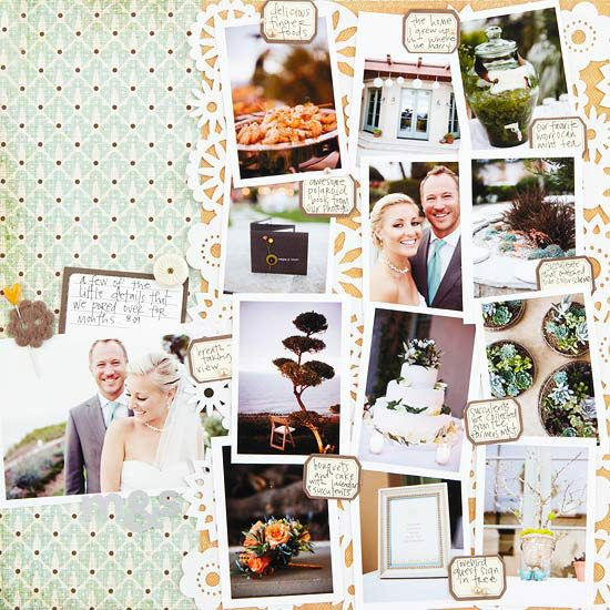 Wedding Scrapbook Layout Ideas Scrapbook pictures of a bride and groom, wedding dresses, and wedding flowers. Use these page ideas as inspiration to capture memories from your special day.