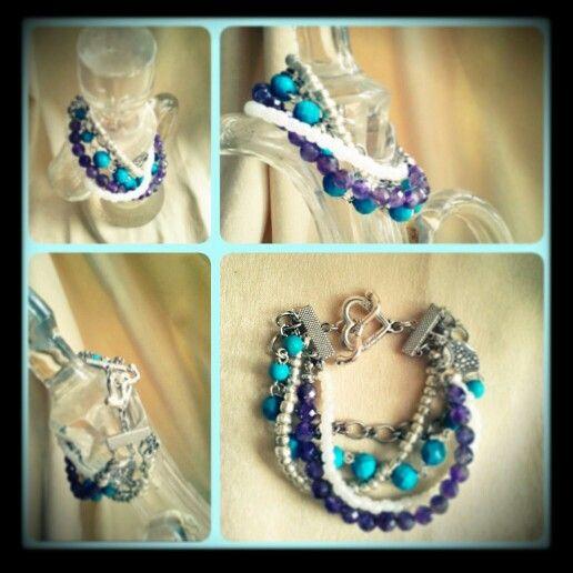 #turquoise #amethyst #gemstone #handmade #bracelet
