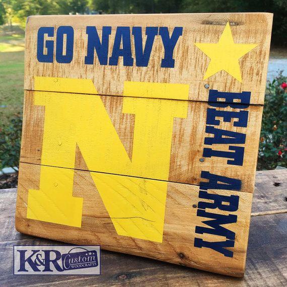 US NAVY Naval Academy Beat ARMY midshipmen sailors cadette football sign decor…