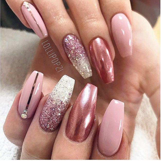 Baby Pink Glitter verblassen Chrom Nägel
