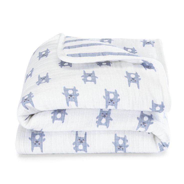 Perfect for the stroller or the car seat, aden® by aden + anais® Mini Flannel Muslin Blanket is just the right size for your little one. Made with 100% brushed cotton for a softness that's extra comforting, it offers cushion-like comfort thanks to its hypoallergenic fill.<br><br>The aden® by aden + anais® Blue Bunny Flannel Mini Muslin Blanket Features:<br><ul><li>Premium flannel muslin: soft and cozy for chilly</li>...