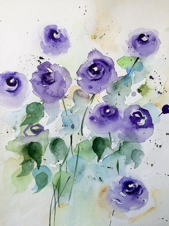 Purple Flowers Garden In 2020 Purple Art Flower Art Watercolor
