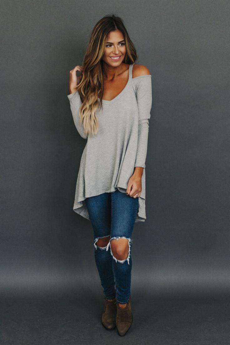 Cold Shoulder Waffle Knit Top- Grey - Dottie Couture Boutique