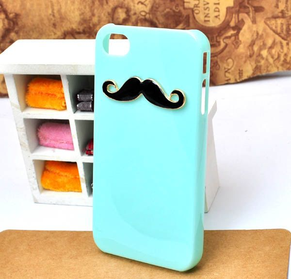 choose color  handmade glue Metal black beard mint green  cell phone case for iphone 4s or 4. $4.90, via Etsy.
