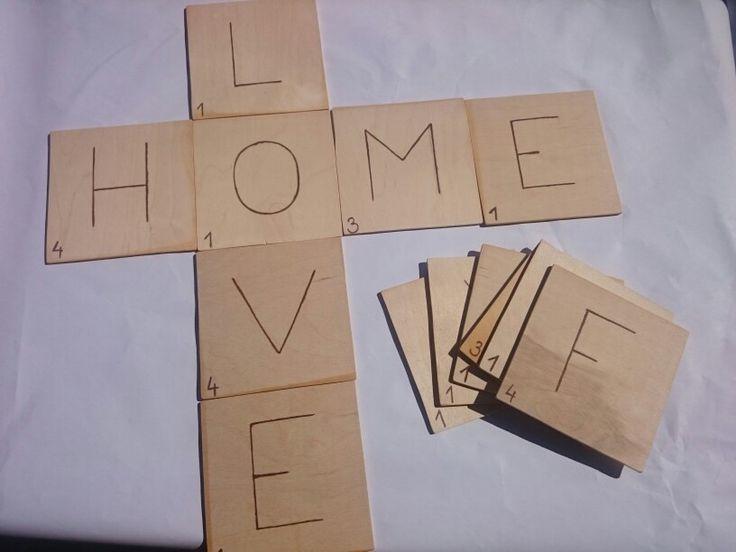 Scrabble alphabetic wood table