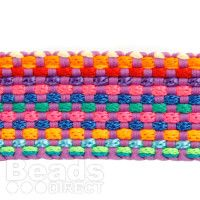 Multi Coloured Flat Knitted/Weaved Cord 22mm Approx 1m