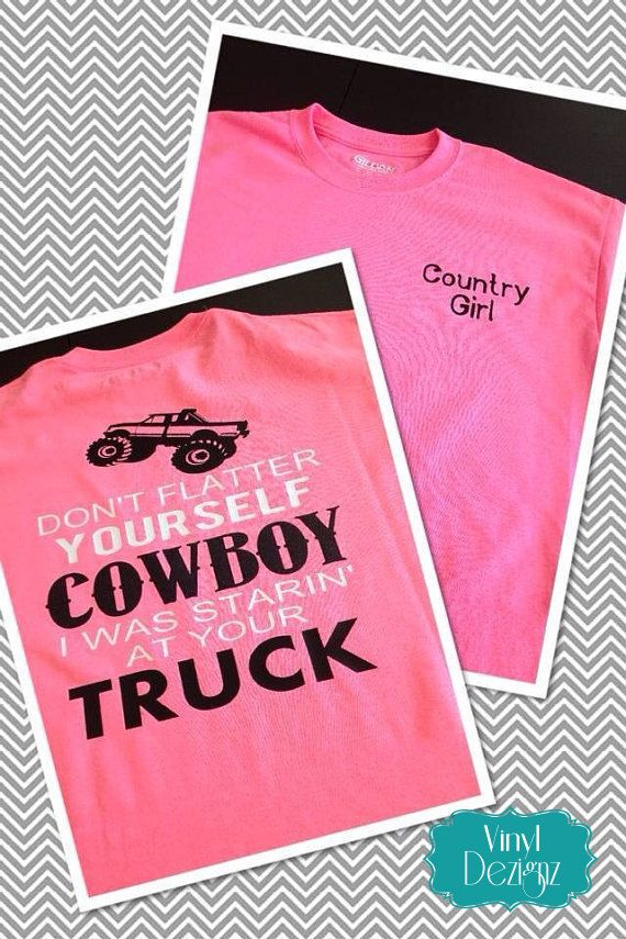 Cowboy and Pick Up Trucks, Country Girl Shirt, Southern Girl Clothing, Custom Apparel, Country Dixie on Etsy, $25.95