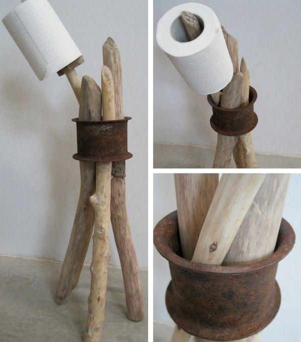 Porte-rouleau papier toilette look rustique  http://www.homelisty.com/rangement-rouleaux-papier-toilette/