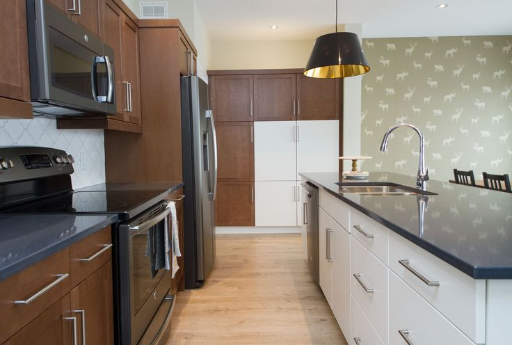 Stan Bailie Showhome Galley Kitchen, with Island and Pendant Lights.