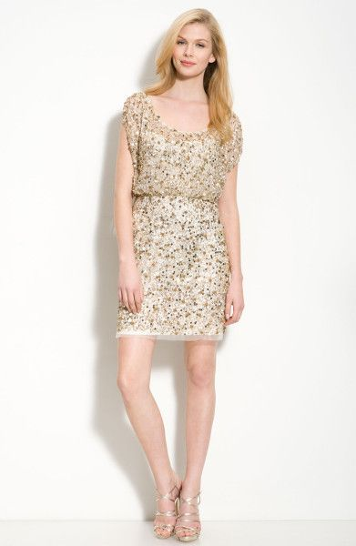 Aidan Mattox Beaded Blouson Dress in Gold (light gold) - Lyst
