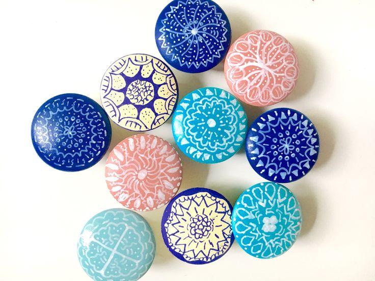 "Boho knobs, custom mandala hand painted, wooden drawer pulls, any color, coastal decor, nursery 1.5"" bohemian, birch by SweepOfSand on Etsy https://www.etsy.com/listing/513400222/boho-knobs-custom-knobs-mandala-hand"