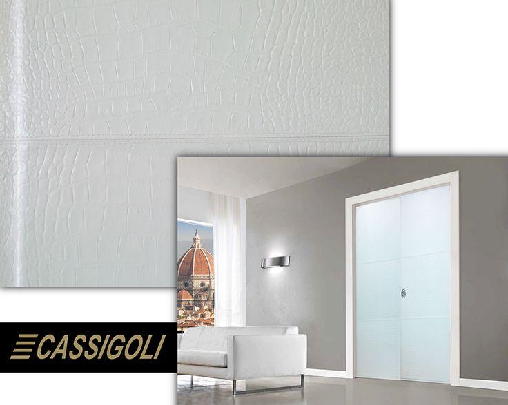 Luxury Security Door Custom Made in genuine white crocodile print leather