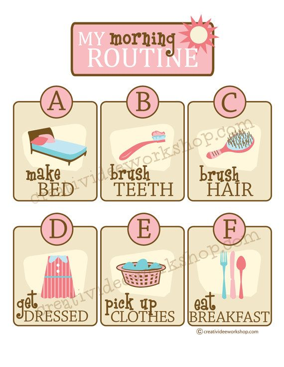 Morning Routine Chart | Girl Theme | Routine Chart | Pink Chart ...