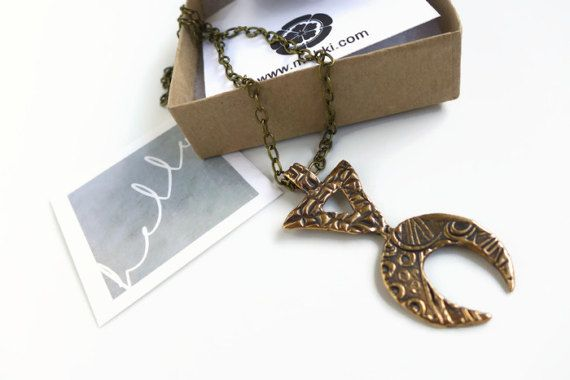 Bronze Tribal Boho Necklace Aztec Jewelry by MohkiDesigns on Etsy