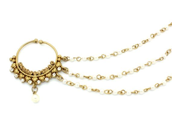 Vintage Indian Diamante Antique Gold Nath Nose Ring Nose Chain Celebrity Style Bollywood Nose Jewelry Jewellery Bridal Wedding…