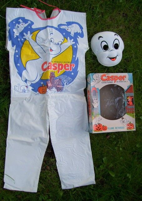1970s Casper Halloween costume. Recalling the supreme cheesiness of these cheap-ass costumes, I'm kind of embarrassed to be from a culture that embraced them. But they were certainly mainstream for a long time.