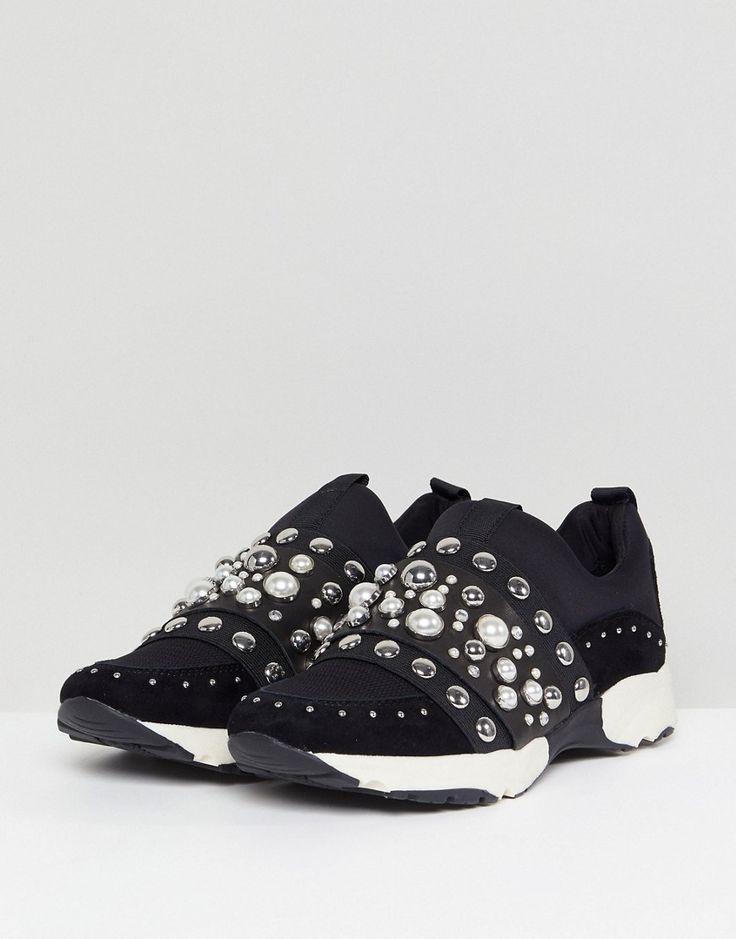 Carvela Luck Studded Sneakers - Black