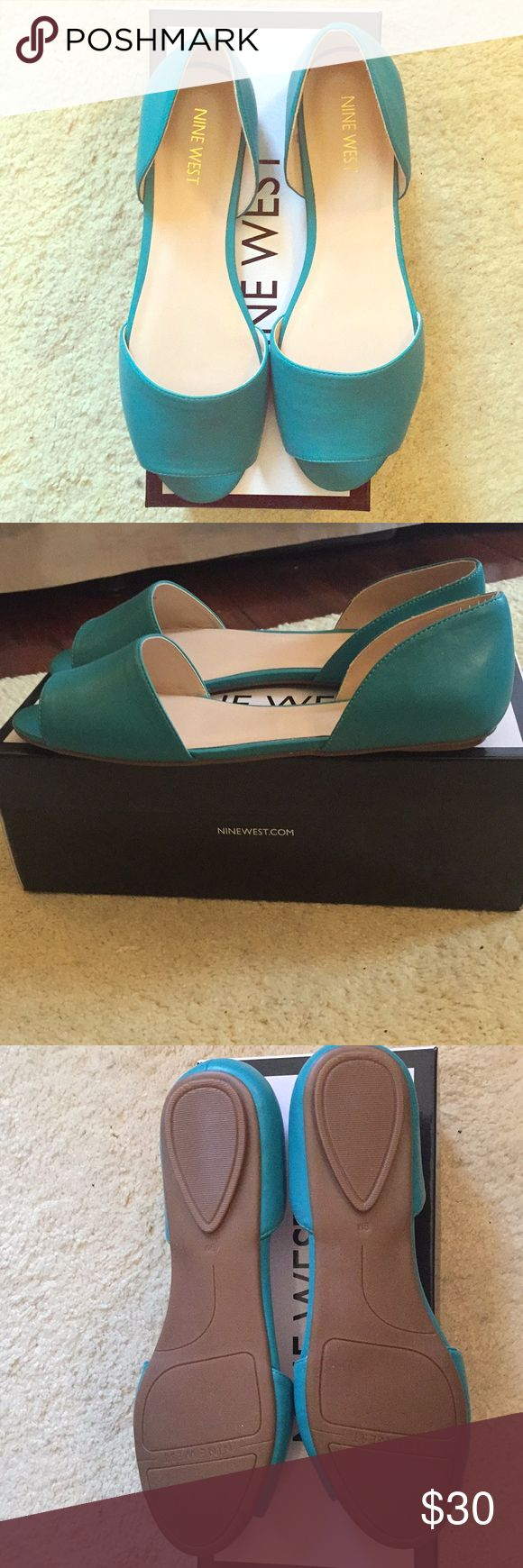 Teal open toe Flats These are brand new open toe flats in a teal color. Size 9m  Nine West shoes Nine West Shoes Sandals