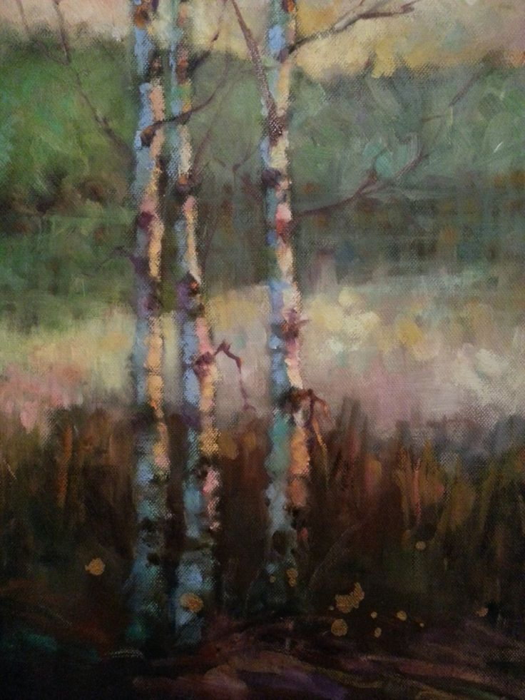 "Impressionist landscape oil painting by Heidi Hjort ""Dreamland Birches"" . I have often had trouble connecting with the artwork I make, this is something I have struggled with. The situation got a lot better when I started to use subjects related to my own experiences."