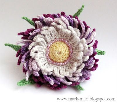 Mark-Mari: Flower. Aster. She has lots of other beautiful crocheted flowers on her site (Russian) with good guidelines and drawings.