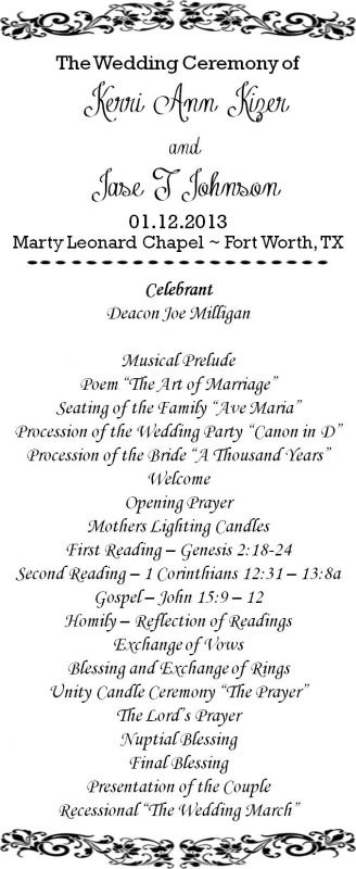 MY DIY Wedding Program! :  wedding black ceremony diy ivory pink wedding program white Program Front