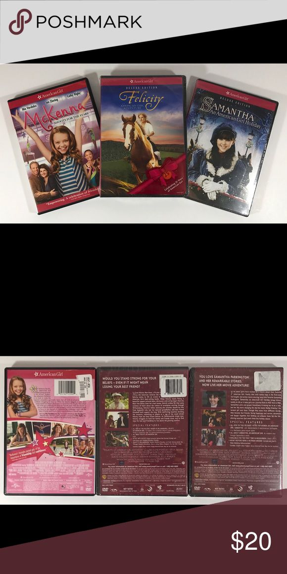 American Girl DVD Set American Girl DVD Set includes: - McKenna Shoots for the Stars, opened  - Deluxe Edition Felicity an AG Adventure, unopened in plastic NWT - Deluxe Edition Samantha an AG Holiday, unopened in plastic NWT American Girl Other