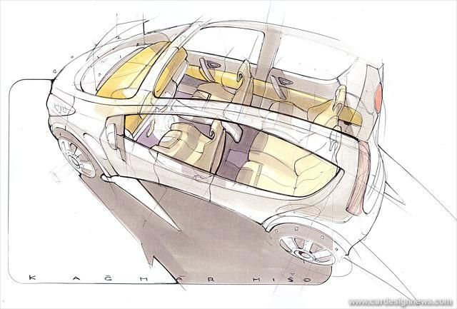 Pic of the Day #546 Interior designer Michael Kacmar's sketch of the Skoda Roomster